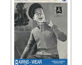 1940s Man's Service Pull-Over Vintage Knitting Pattern - PDF Instant Download - PDF Knitting Pattern