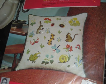 """Hiawatha Creative Crewel Pillow Kit """"Woodland Scene"""" Designed by Erica Wilson #7052  - Compete/Factory Sealed Pillow Kit 14"""" x 14"""""""