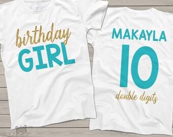 Birthday Girl - Tenth birthday double digits glitter shirt - fun glitter 10th birthday shirt - you choose glitter and print colors MBD-100