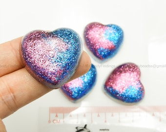Pink and blue glitter heart cabochon for crafts or personalised jewelry and decoration Craft ideas