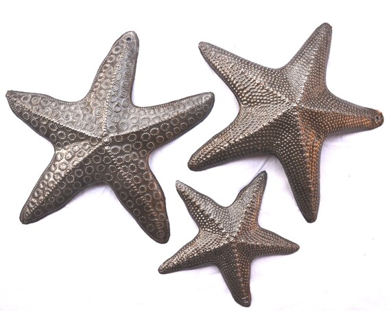 "Starfish, Set of 3, Nautical Home Decor, Recycled Wall Art 8"", 8"", and 5"""