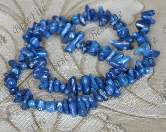 4x11mm Charm blue coral branch loose beads,coral branch nugget full strand 15inch