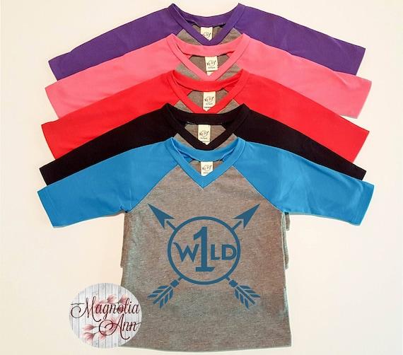 Wild One, 1st Birthday, Birthday Shirt, Infant Baby V-Neck Baseball Raglan T-shirt in 5 Colors in Sizes 6 Months-24 Months