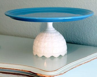 """15"""" Cake Stand in Teal Blue or Peacock Blue / Cake Plate Pedestal / Ceramic Cake Stand / Cupcake Stand / Cake Pop Stand / Blue Cake Stand"""