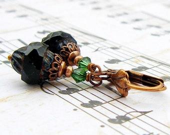 Black Turbine - vintage style antique copper dangle earrings, Victorian style drop earrings