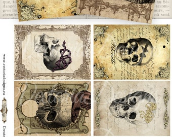 Adorable Skulls background ATC 2.5 x 3.5 inch Halloween instant download digital collage sheet - VD0759