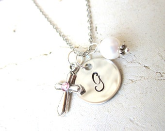 Personalized Necklace With Birthstone Cross. Baptism Gift. Confirmation Gift. Girls First Communion Gift. Godmother Gift. Monogram Jewelry