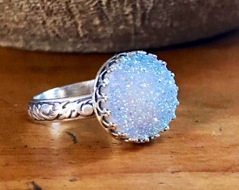 Sparkly Druzy Quartz Ring