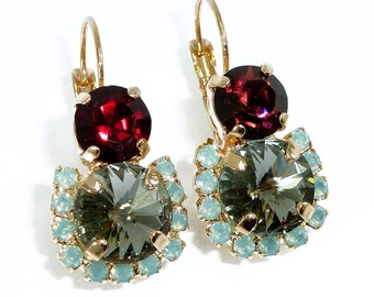 Garnet Drop Earrings, Swarovski Crystal Earrings, Dangle Earrings, Gray Earrings, Bridesmaised Gift, gold post, Garnet Crystal Earrings.