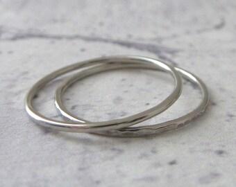 Thin Platinum Ring - Skinny Ring - Hammered or Smooth - Platinum Ring - Thin Ring
