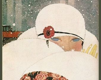 Winter fashion illustration by George Lepape from Vogue 1919