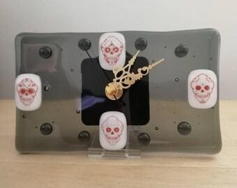 Fused Glass Skull Clock
