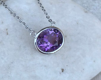 Dark Purple Amethyst Oval Necklace- Amethyst Silver Necklace-Genuine Amethyst Simple Bezel Pendant Necklace-February Birthstone Necklace