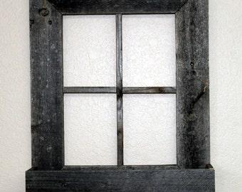Rustic Barn Wood Window Frame with Flower Box
