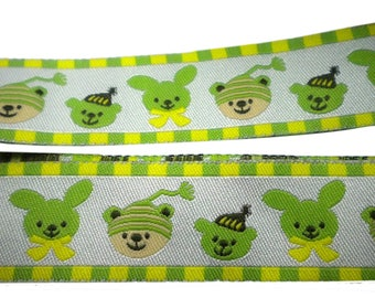 Colorful, Joyful Jacquard Ribbon with lovely Rabbits and Bears on Metalic White background 1meter ,1.09 yard