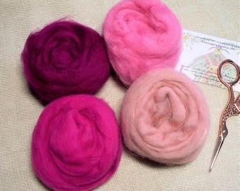 Wool roving, pink wool roving, pink felting wool, felting wool, wool fibres, pink fibres, bright pink wool roving, pale pink wool roving,
