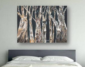 Extra large masculine wall art Oversized living Dining room Canvas print tree trunk gray black white artwork office decor fathers day gift