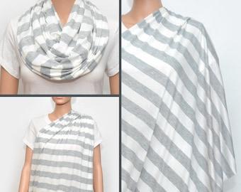 Grey Stripes Nursing Scarf -  Nursing Cover - Nursing Cover Scarf -  Nursing Infinity Scarf - Infinity Scarf
