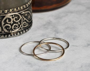 Mixed Metal Stacking or Midi Rings - Gold Fill and Sterling Silver | gold stacking rings | mixed metal stacking rings | mother's day