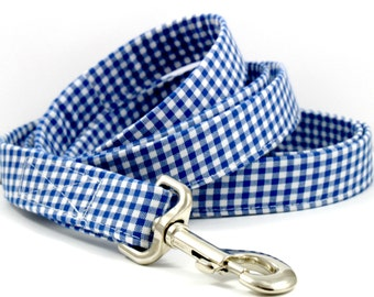 "Navy Blue & White Checkered Plaid Gingham Dog 6 ft Leash ""Gingham Style"""