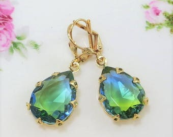 Blue Green Earrings Vintage Givre Glass Jewels Boho Glam Victorian Jewelry Gift