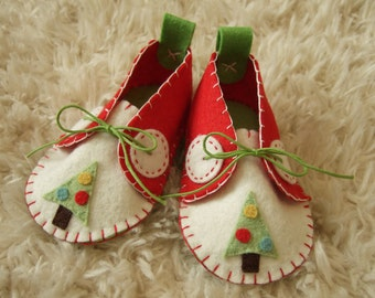 Christmas Felt Baby Shoes - Can Be Personalized