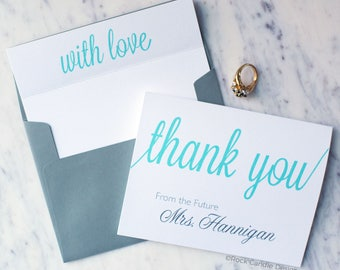 FREE SHIPPING & PERSONALIZATION Thank You From the Future Mrs Wedding Stationery Set / Wedding Thank You Card / Bridal Shower Gift for Bride