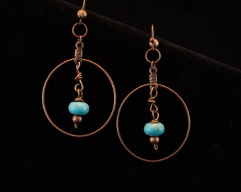 Handcrafted jewelry, Copper and Turquoise earrings