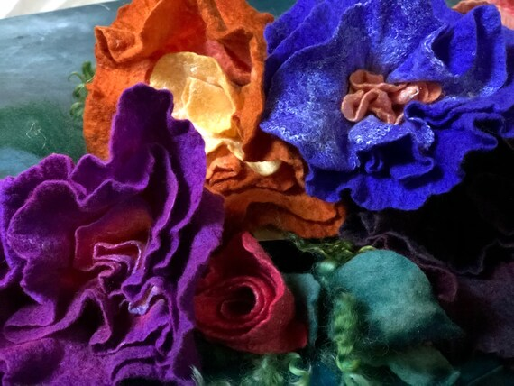 Felted Wool Flowers Handdyed Silk & Merino