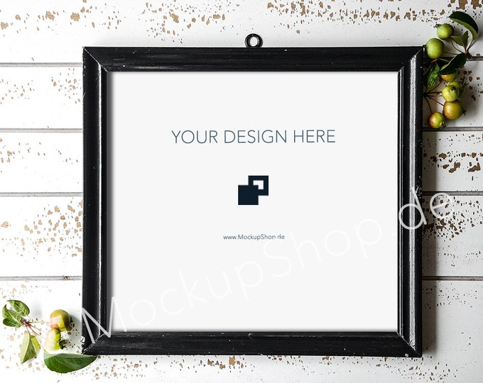 SQUARE old black MOCKUP FRAME on old white wooden wall, Frame Mockup, Amazing black photo frame mockup, Digital Download, Black Frame Mockup