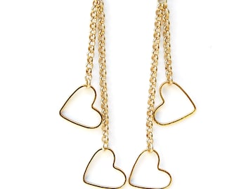 Valentines Day Gift For Her, Gold Heart Earrings, Heart Dangle Earrings, Long Gold Earrings, Heart Jewelry, Anniversary Gift, Heart Earrings