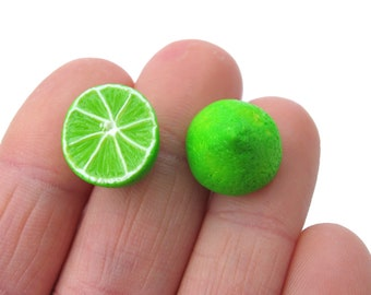 Lime Earrings - Fruit Studs - Citrus Earrings - Citrus Jewelry - Miniature food - Fruit Jewelry - polymer clay - Lime jewelry