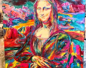 Colorful Mona Lisa Painting/Modern Art/colorful/glow in the dark, painting