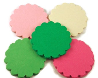 Two Inch Die Cut Paper Circles Scalloped Circles in Botanical Set of 50