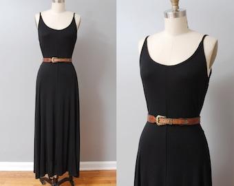 1990s Maxi Dress - Black Jersey Long Dress with Leather Belt