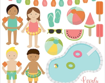 Pool party clip art,  summer clipart, pool vector, royalty free clip art- Instant Download