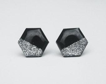 Silver dipped Black Hexagon Studs, Geometric Jewelry, Minimalist Statement Earrings, Hypoallergenic Titanium Earrings, Modern Nickel Free