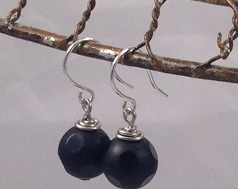 Black Onyx Earrings, Faceted Onyx, Gemstone Earrings