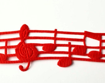 """Red Musical Music Notes Heat Melody Cut Out Grosgrain Ribbon 1"""" WIDE Scrapbooking HairBows Parties DIY Projects az516"""