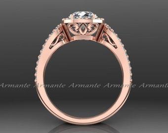 Rose Gold Halo Engagement Ring, 14k Rose Gold Diamond And Forever Brilliant Moissanite Filigree Ring Wedding Ring Re00012r