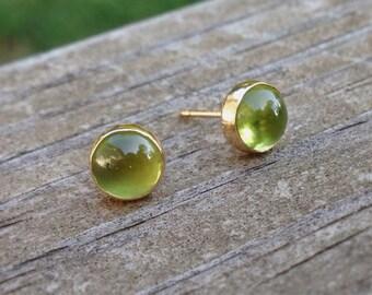 14k Gold Earrings with Peridot Cabochon, Peridot Stud Earrings, August Birthstone, Abish Jewelry Works