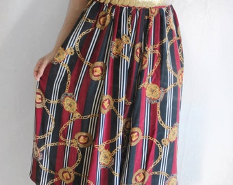 FREE SHIPPING Vintage Silk Maxi Skirt with gold chain print