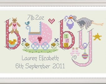 Baby Girl Customisable Cross Stitch Chart - Digital Format PDF Pattern