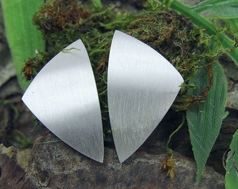 Earrings Silver 925 /-, large triangle, dash Matt