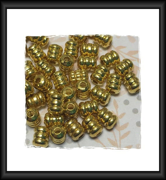 Corrugated Barrel Bright Gold Finish Beads 5 x 4 mm - 25 beads