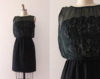 vintage 1960s dress // 60s black lace illusion dress