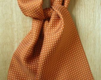 """Orange & white cross hand printed silk cravat 40"""" X 6"""" Hand made in UK"""