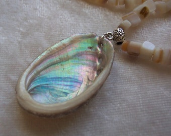 Natural Abalone Shell Necklace, Mother of Pearl Necklace, Ocean Shell Necklace, Beach Necklace