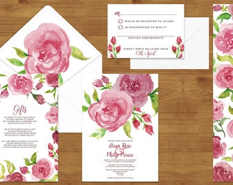 VALENTINE'S COLLECTION Pink Rose Wedding Invitations Stationery Set - Printed or Digital Download - Pink Wedding - Wedding Printable