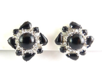 1960's Black & Crystal Rhinestone Square On-Point Earrings, Clip-On